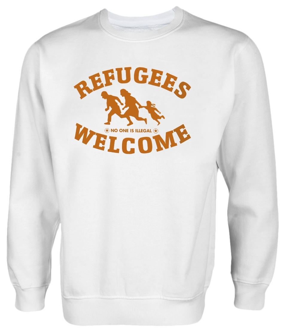 Refugees welcome Pullover Weiß mit orangener Aufschrift - No one is illegal
