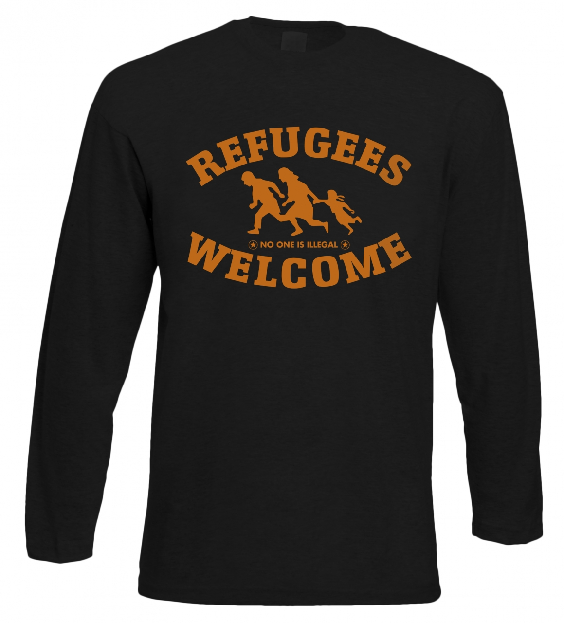 Refugees welcome Langarm Shirt Schwarz mit orangener Aufschrift - No one is illegal