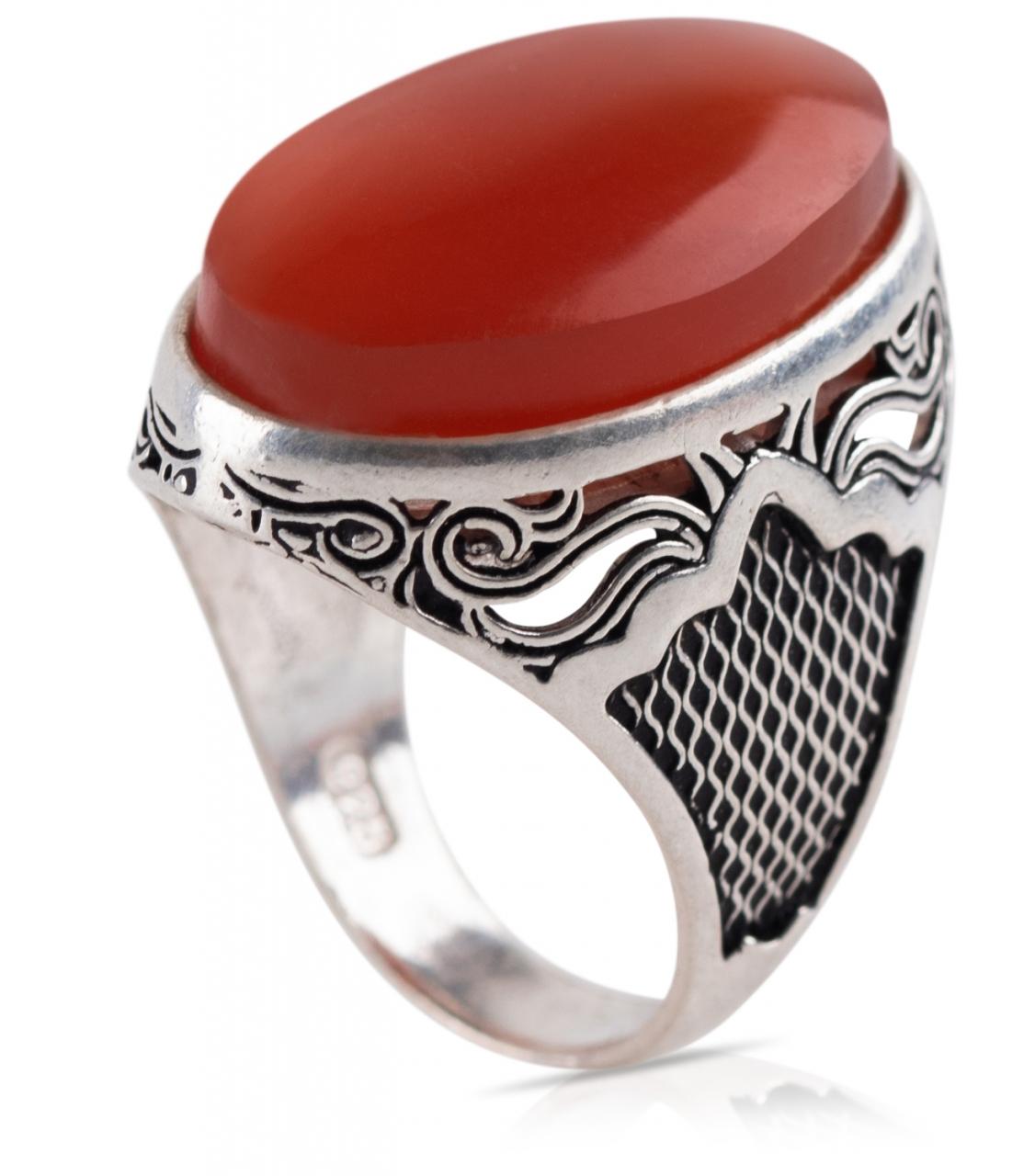 Herren Aqiq Rot - Silberring Fassung graviert - RE56