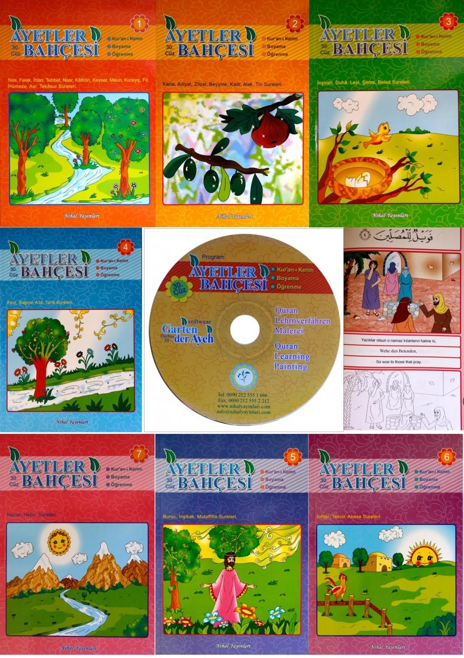 Quranlernpaket für Kinder 7 Malbücher + DVD in 3 Sprachen