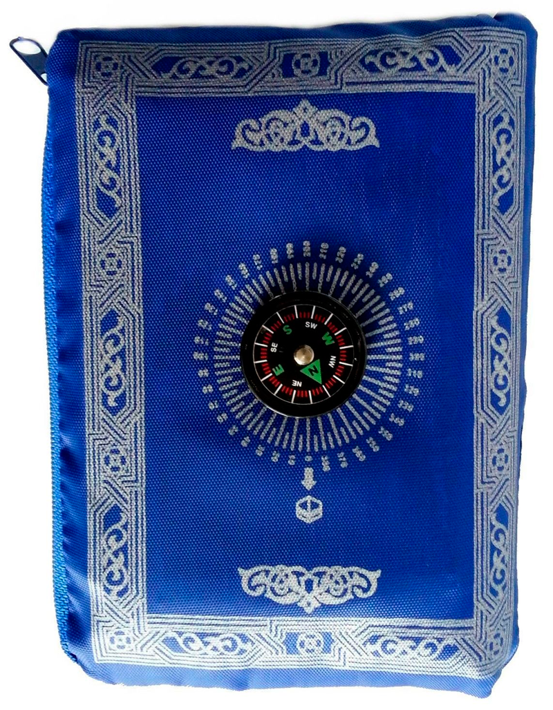 Gebetsteppich + Gebetsstein für unterwegs, Reisegebetsteppich, Blau