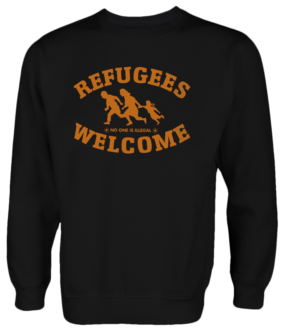 Refugees welcome Pullover Schwarz mit orangener Aufschrift - No one is illegal