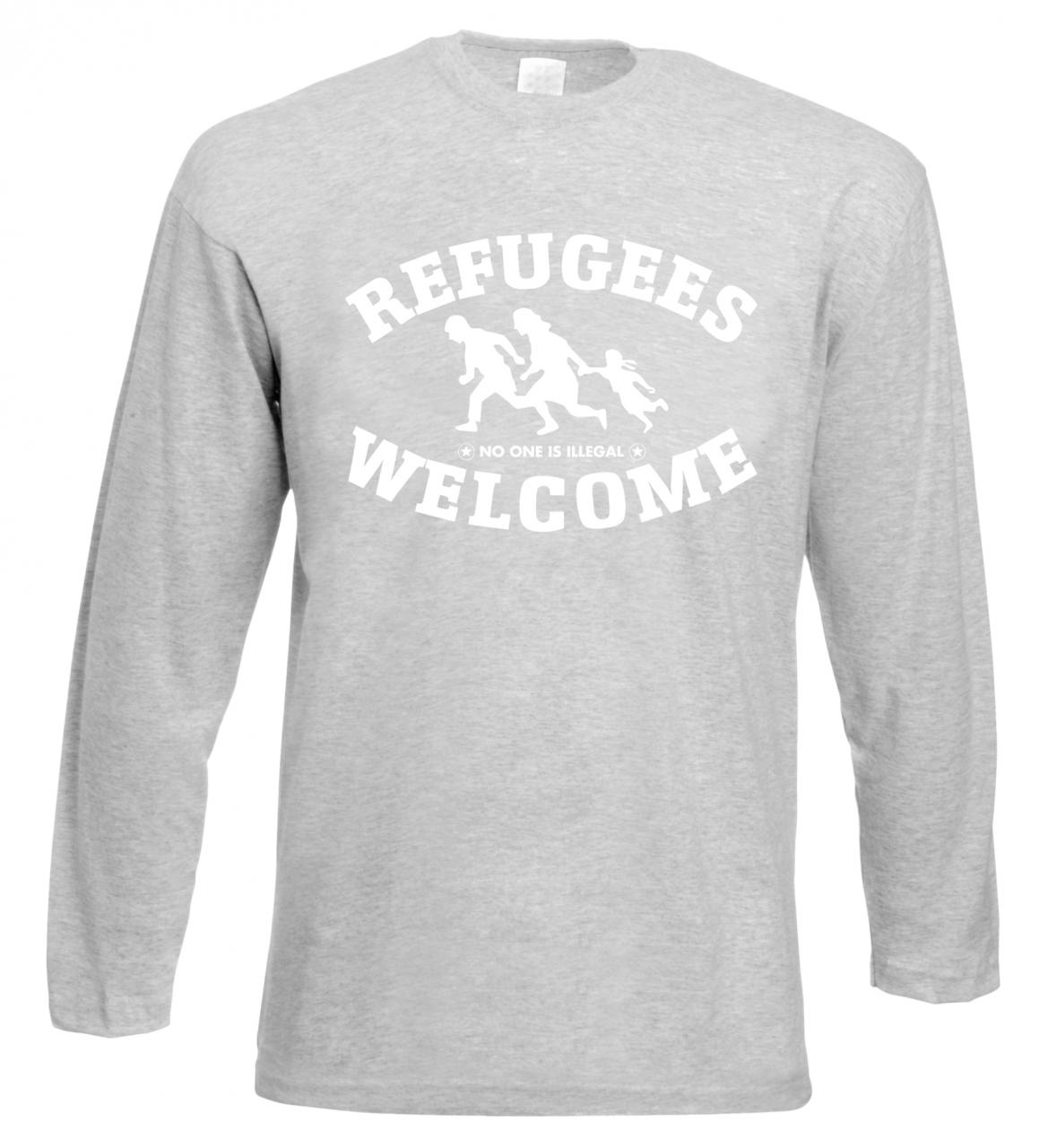 Refugees welcome Langarm Shirt Grau mit weißer Aufschrift - No one is illegal