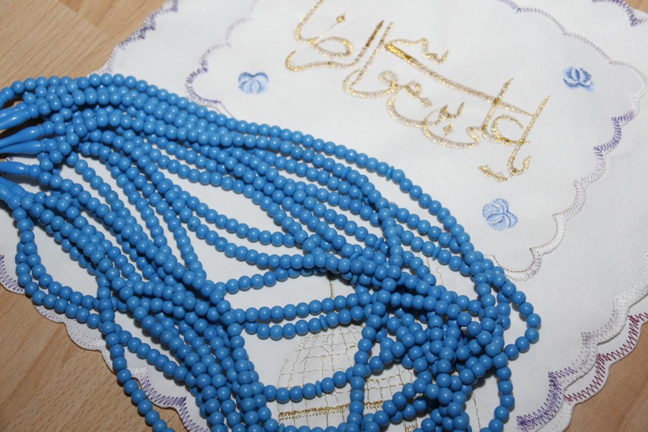 Gebetsketten Tasbih - Himmelblau 99 Steine - große Steine