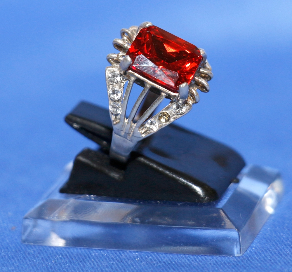 Roter Rubin Silberring - Damenring - Roter Stein