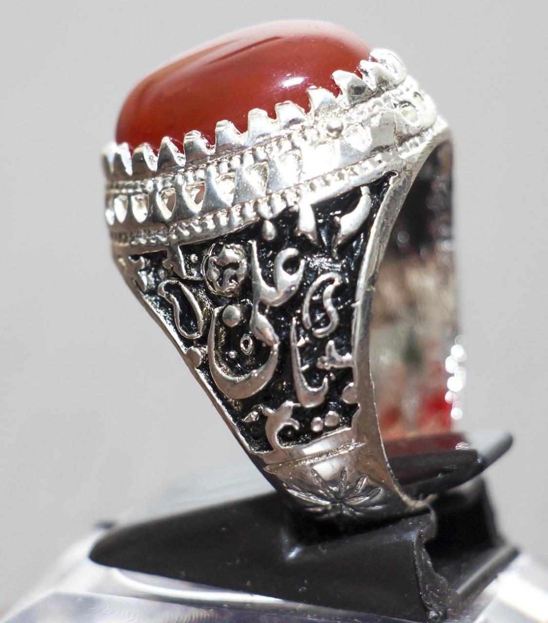 AqiqHerren Aqiq Ring Khorasani Stein in rot oval graviert mit Ya Zahra, Ya Hussein oder Ya Abal Fadl Alabbas