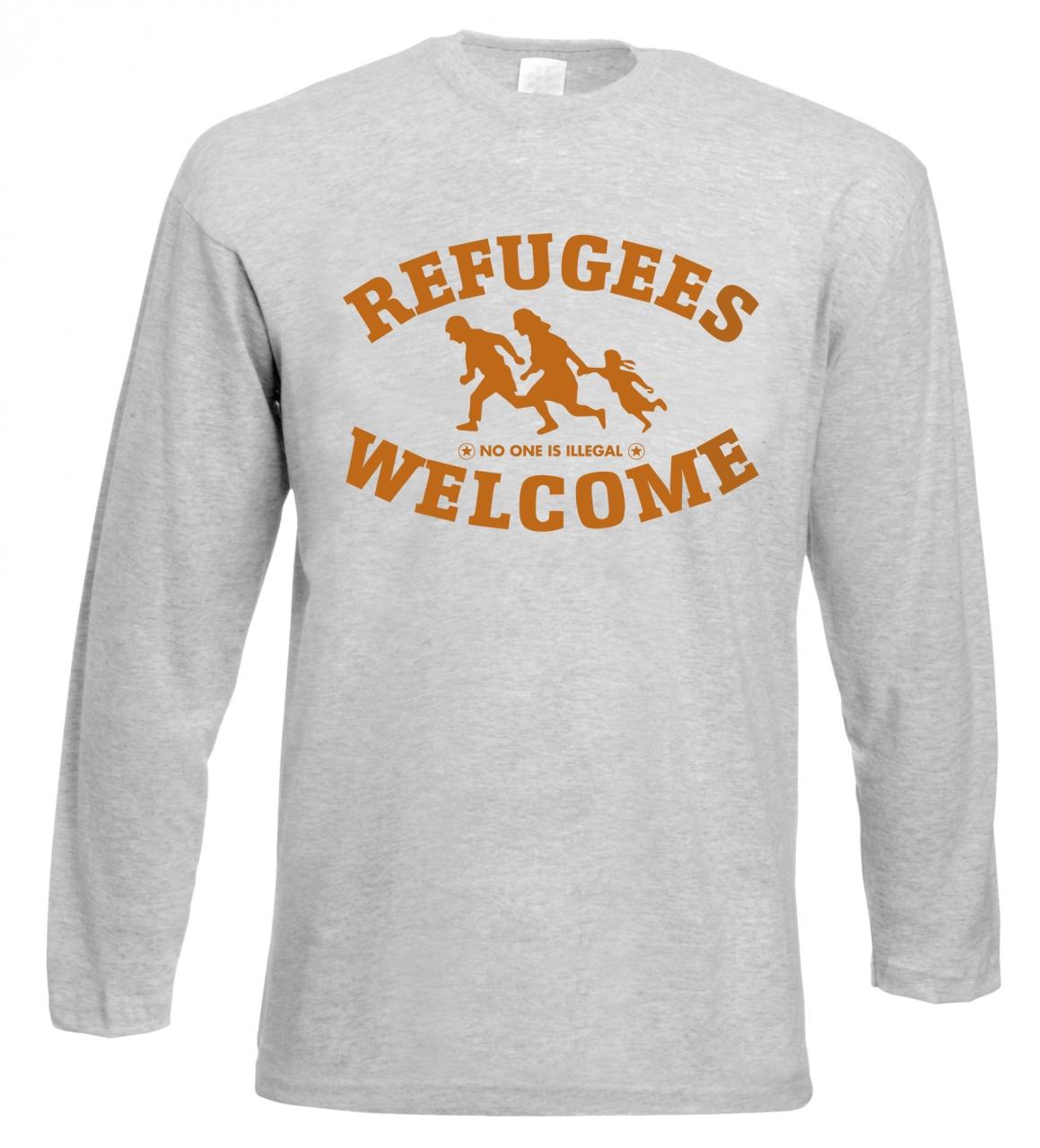 Refugees welcome Langarm Shirt Grau mit orangener Aufschrift - No one is illegal