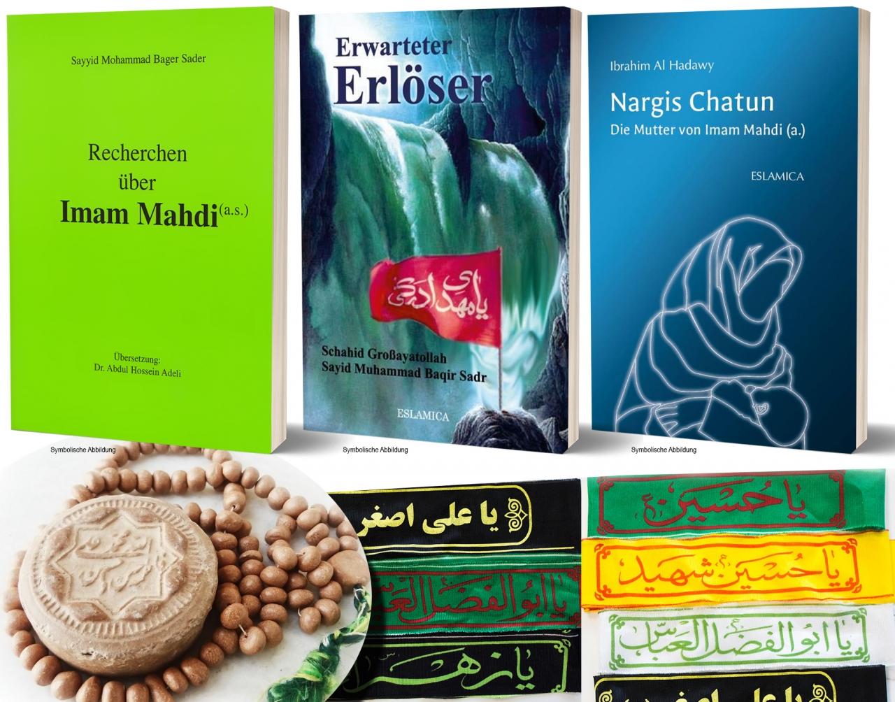 XXL Bundle Imam Mahdi a.s. 3 Bücher (Erwarteter Erlöser, Recherchen, Nargis) + Gebetskette Turba und