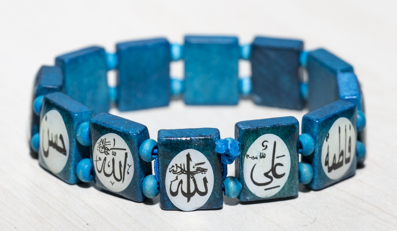 Islamischer Holzarmband Dunkelgrün mit Ahlulbait / Ahlylbait Namen