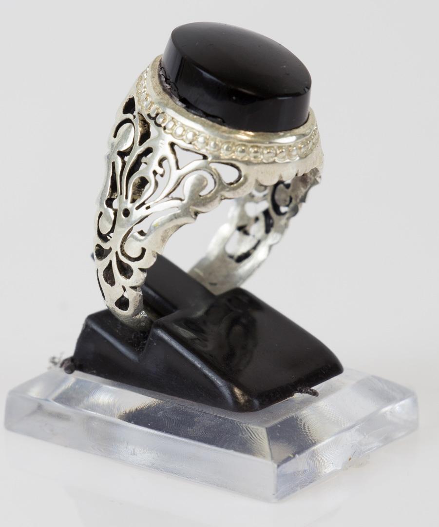 Schwarzer Aqiq Silberfassung Größe 65 Herren Ring