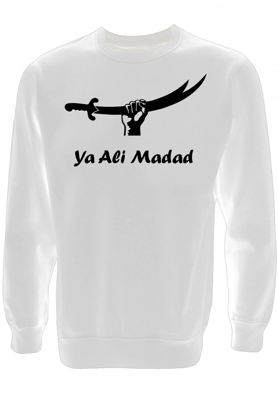 Ya Ali Madad Zulfikar Herren Pullover Weiß mit schwarzer Aufschrift