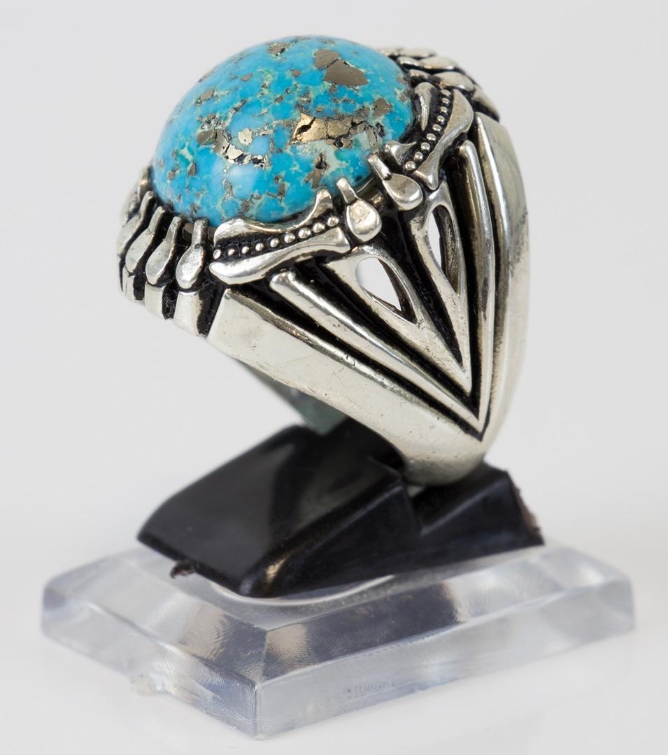 Fairuza Nishaburi Silberring größe 63 - Auch Fairuz Shajar genannt sehr großer Stein