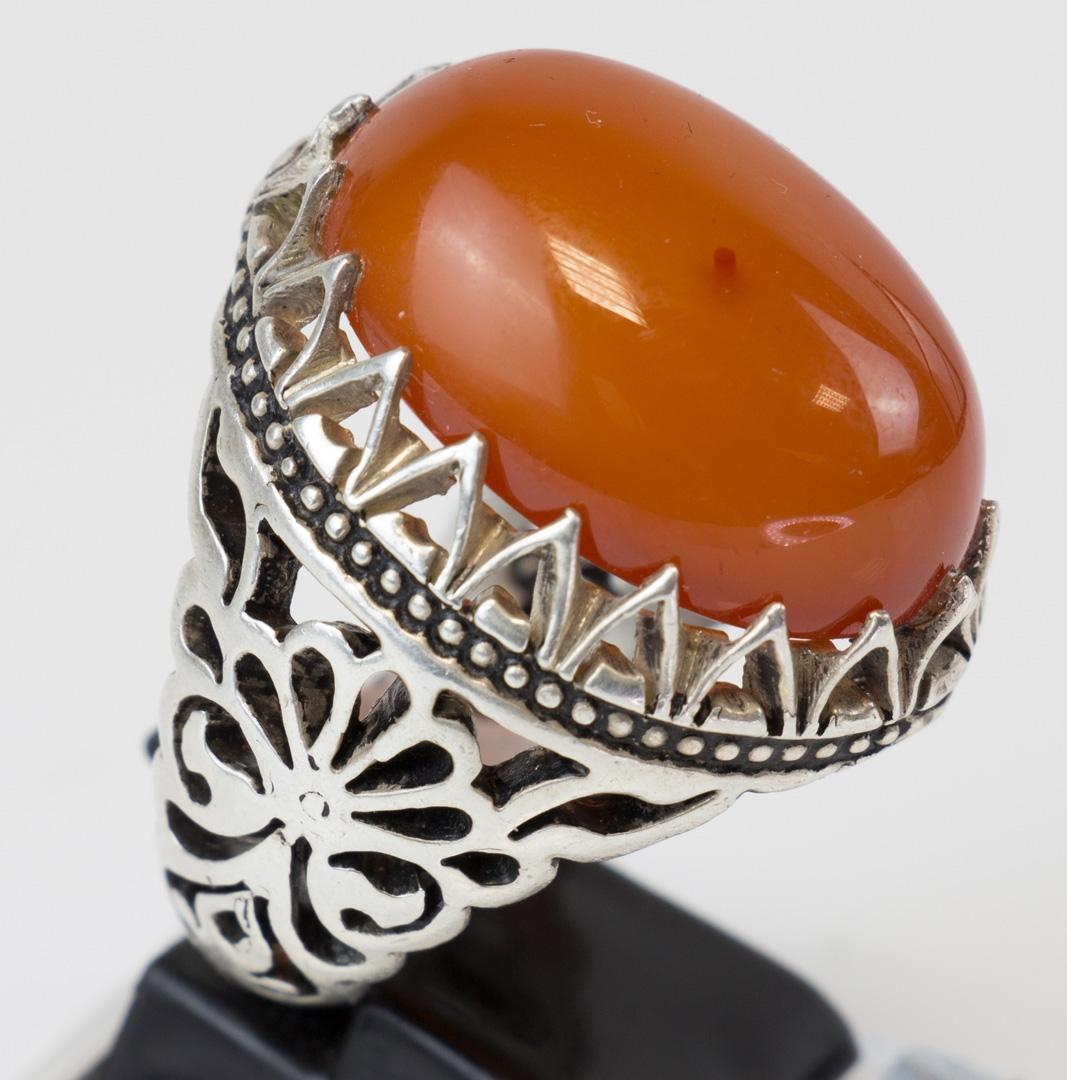 XXL Yamani Ring sehr großer sauberer Yamani Stein in einer Silberfassung Größe 70