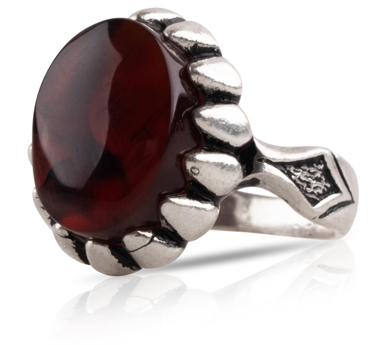 Herren Aqiq Rot rund Größe 52 - Silberring Fassung graviert - RE12