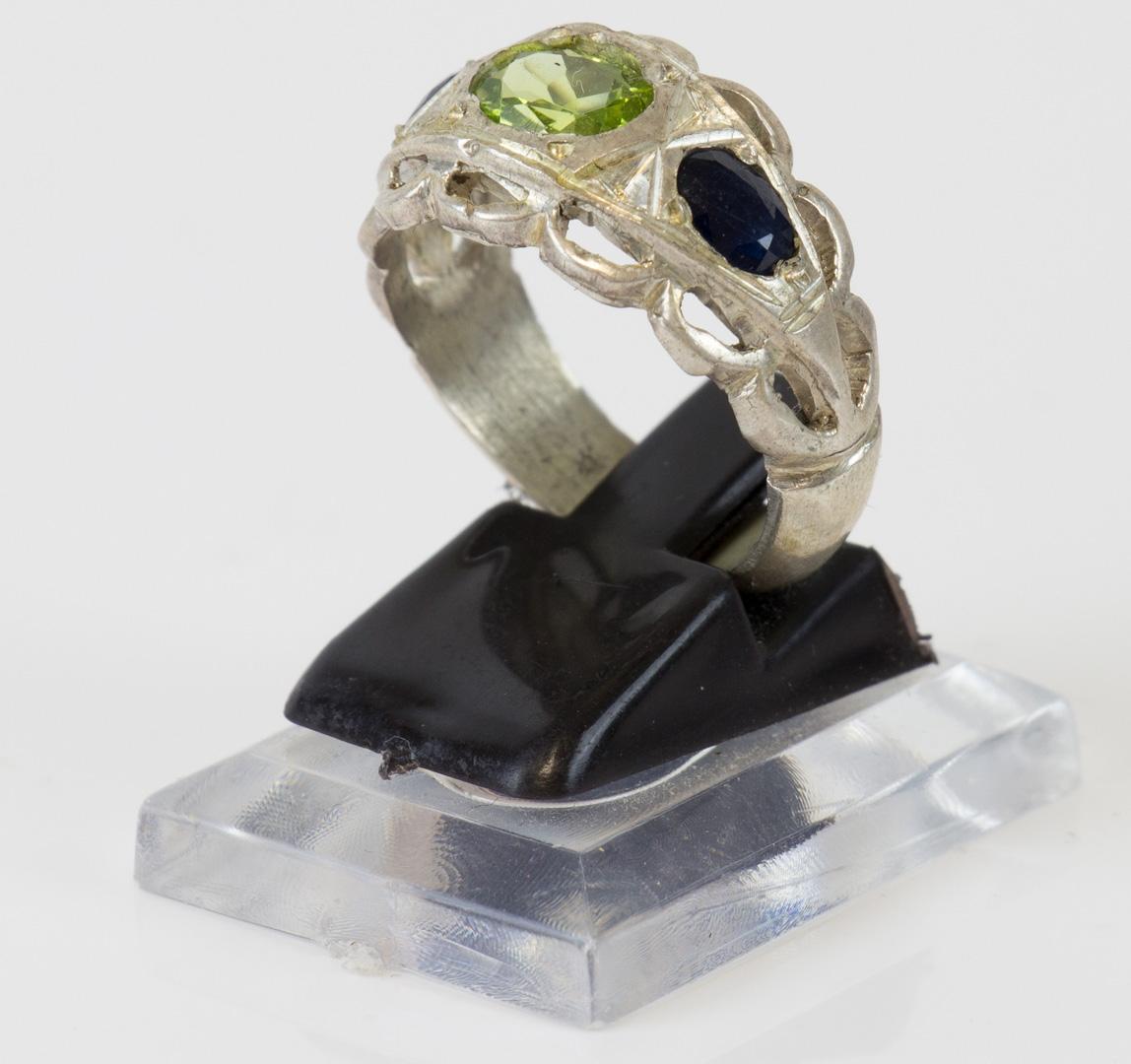 Silberring Damen / Herren 3 Halb-Edelsteine mit Yaqut und Zabarjad Größe 61