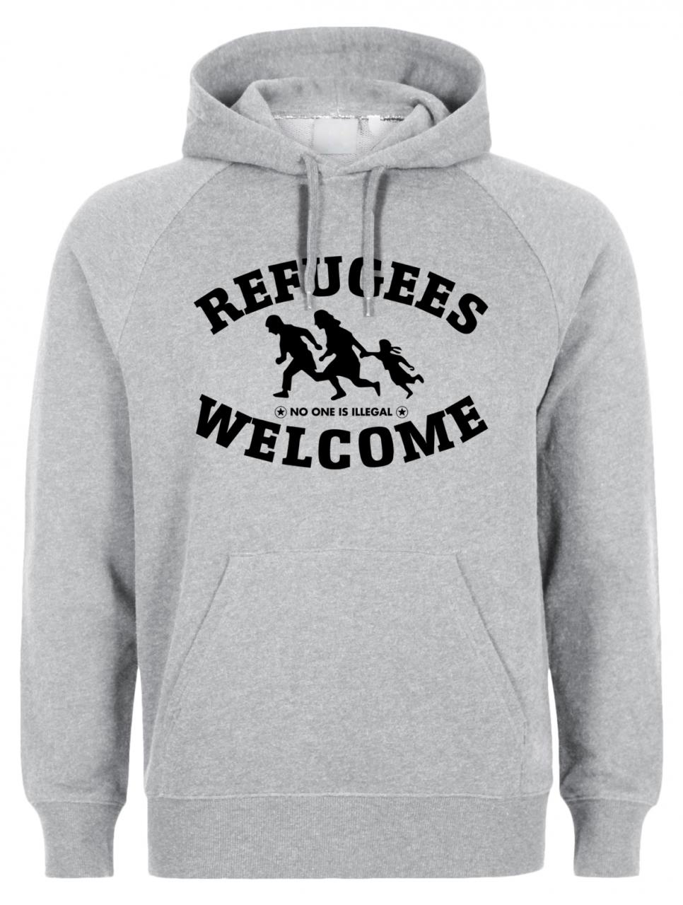 Refugees welcome Hoody Grau mit schwarzer Aufschrift - No one is illegal