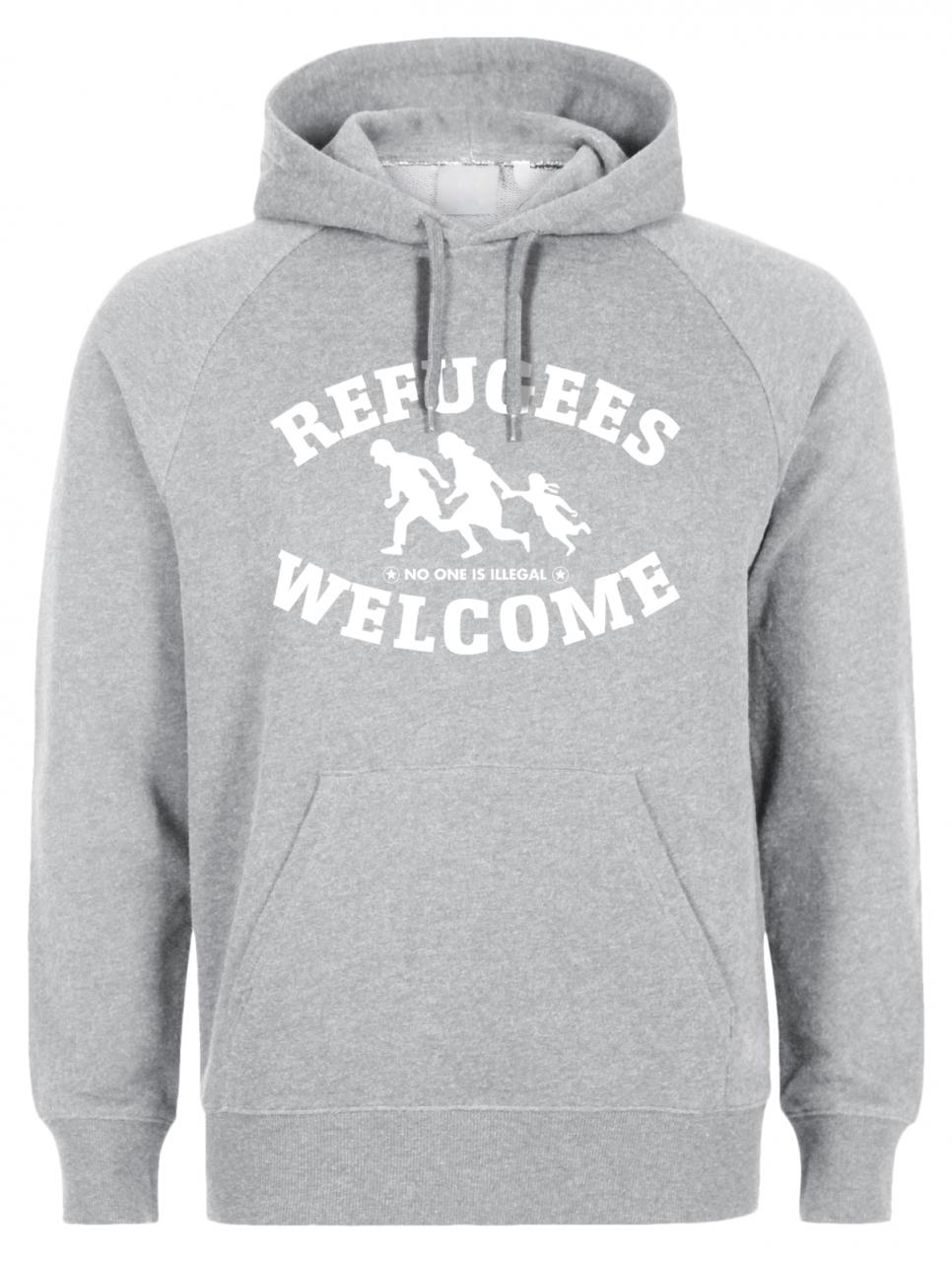Refugees welcome Hoody Grau mit weißer Aufschrift - No one is illegal