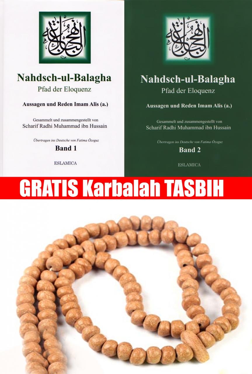 Nahjul Balagha 1 + 2 + Gebetskette aus Karbalah Islam Buch Deutsch
