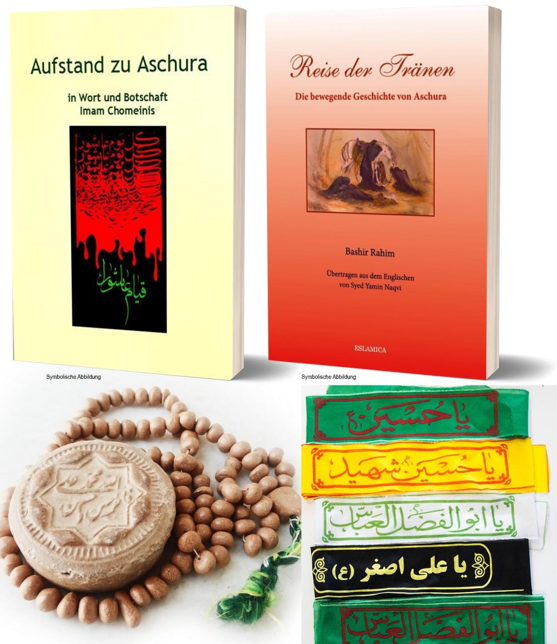 Bücherpaket Ashura - Imam Hussein - Karbalah Islam Buch Deutsch + Tasbih + Gebeststein + Stirnband