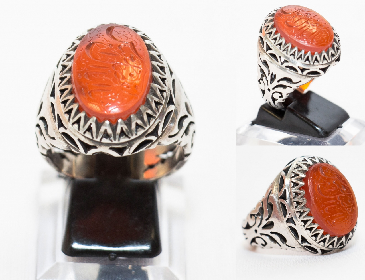 Roter Aqiq Yamani Ring Silberfassung Handgraviert mit Ya Abal Fadl Alabbas Size 67