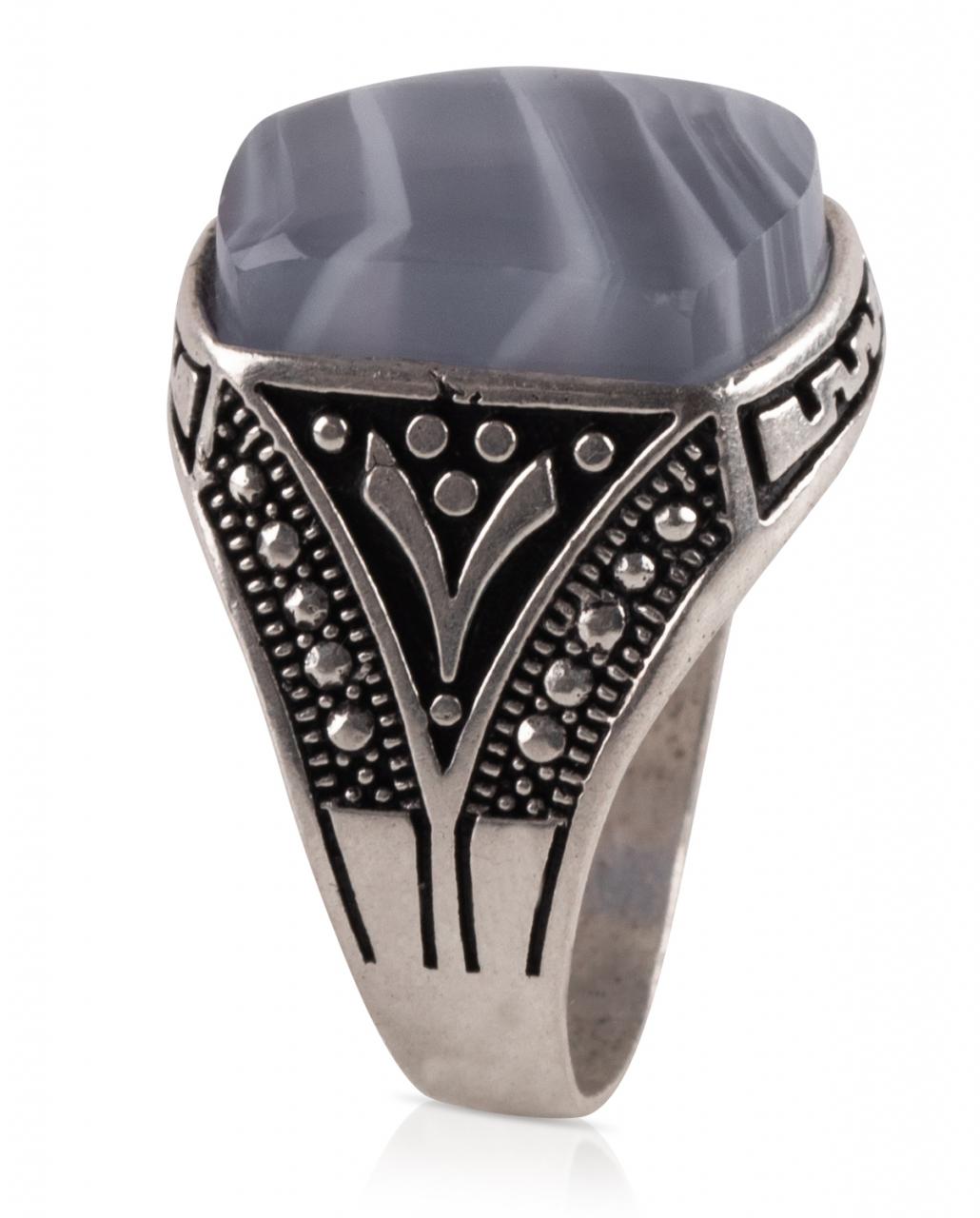 Herren Aqiq Blau Größe 61 - Silberring Fassung graviert - RE5