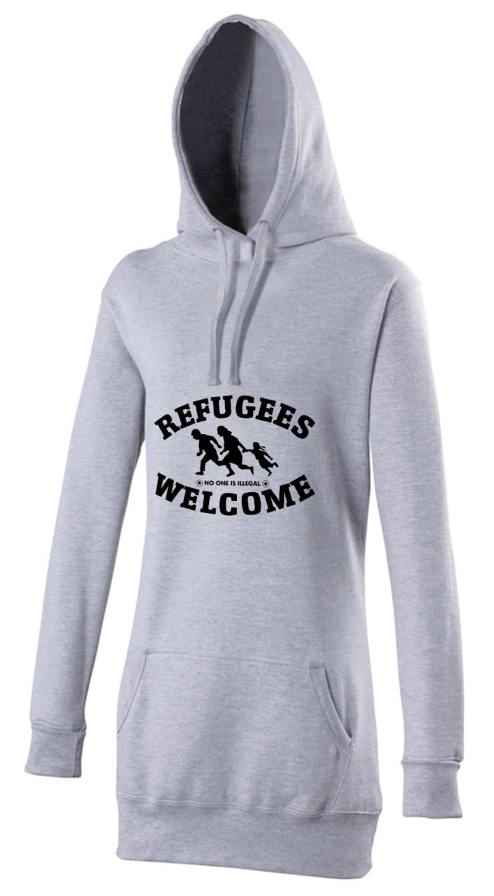 Refugees welcome Woman Hoody Grau mit schwarzer Aufschrift - No one is illegal