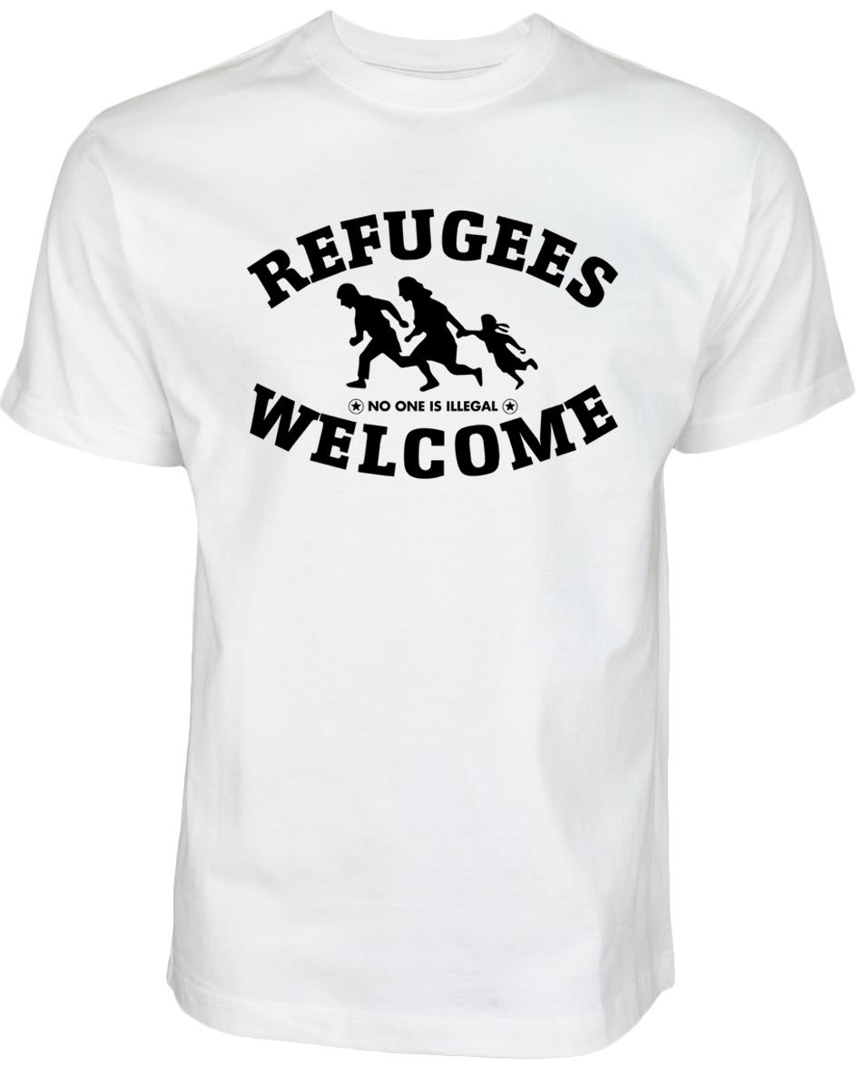 Refugees welcome T Shirt Weiß mit schwarzer Aufschrift - Nobody is illegal