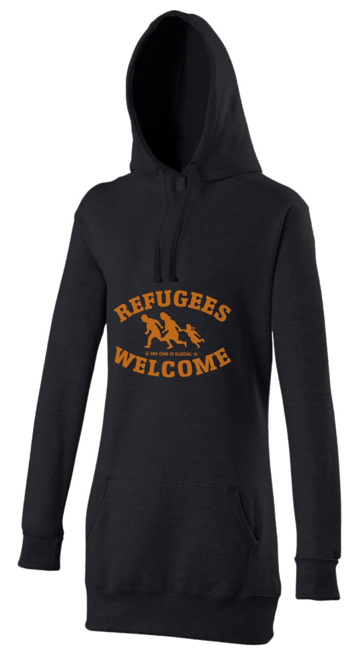 Refugees welcome Woman Hoody Schwarz mit orangener Aufschrift - No one is illegal