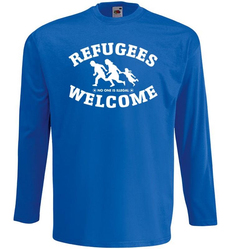 Refugees welcome Langarm Shirt Blau mit weißer Aufschrift - No one is illegal