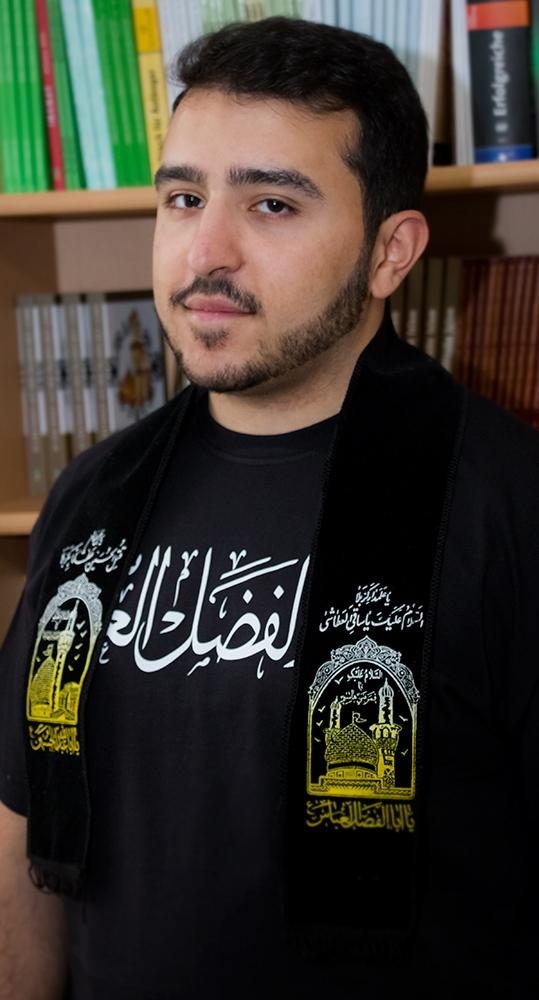 Umwerfschal schwarz beschriftet mit Ya Hussein und Ya Abbas Ashura Muharram Shale 80 cm lang