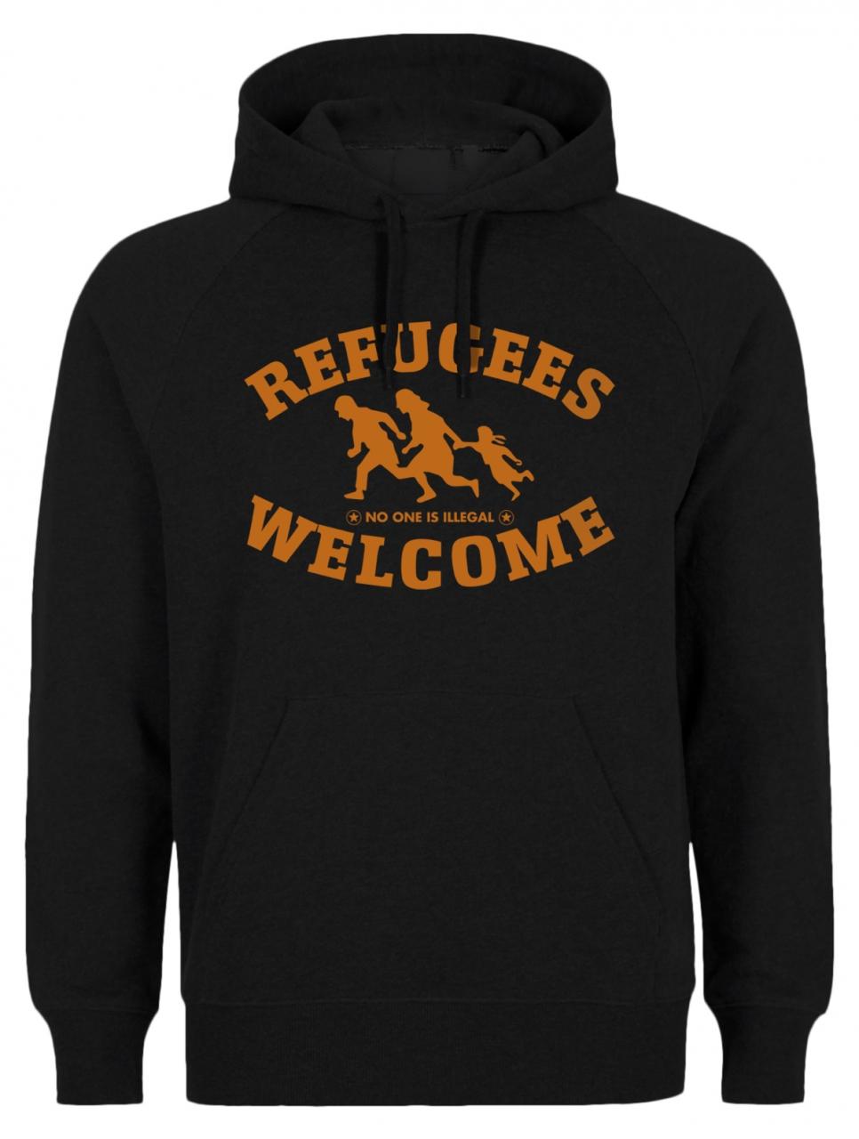 Refugees welcome Hoody Schwarz mit orangener Aufschrift - No one is illegal