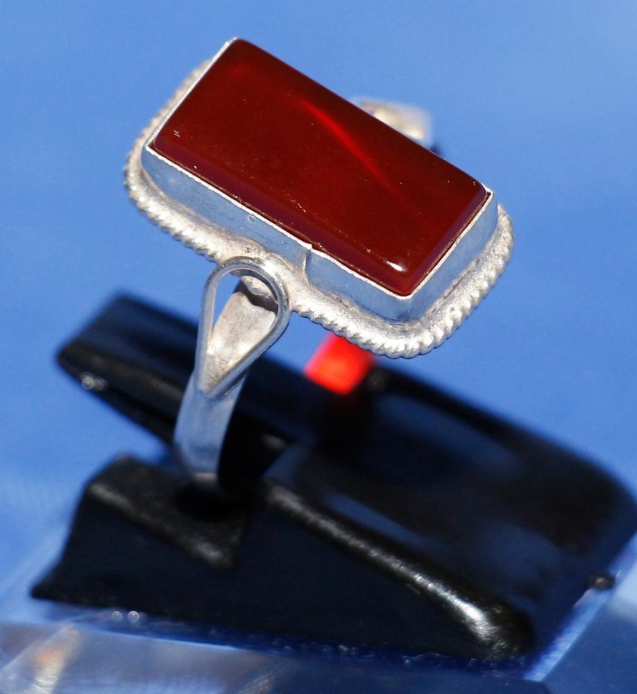 Aqiq Khorasani - Silberring für Frauen - Rechteckiger Stein
