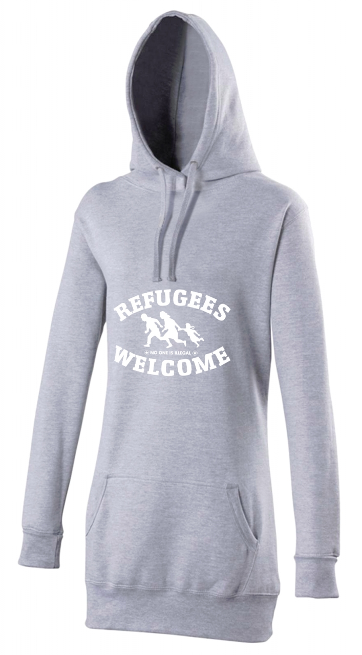 Refugees welcome Woman Hoody Grau mit weißer Aufschrift - No one is illegal
