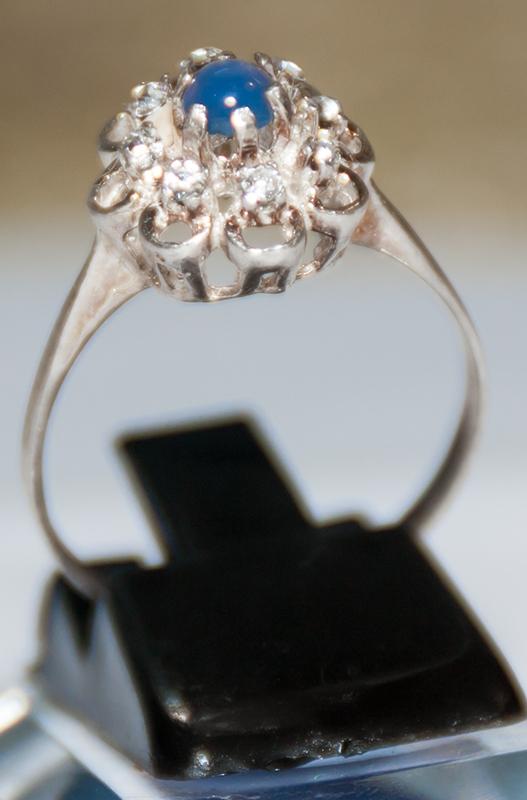 Frauenring - Silber blauer Aqeeq Stein