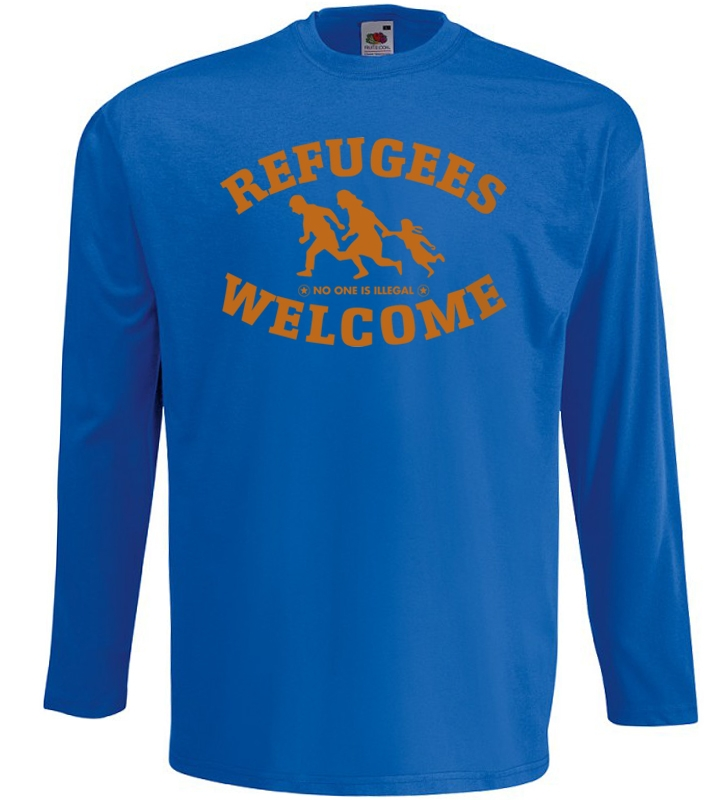Refugees welcome Langarm Shirt Blau mit orangener Aufschrift - No one is illegal