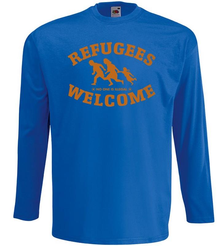 Refugees welcome Langarm Shirt Blau mit orangener Aufschrift - No one is illegal