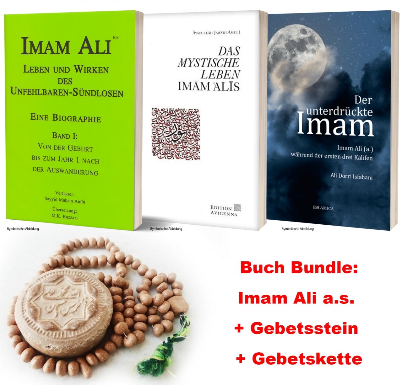Imam Ali Bücher Bundel 3 Bücher Mystische Leben + Lebensbiographie + Unterdrückte Imam Ali