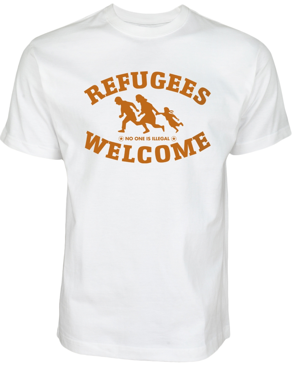 Refugees welcome Shirt Weiß mit orangener Aufschrift - Nobody is illegal