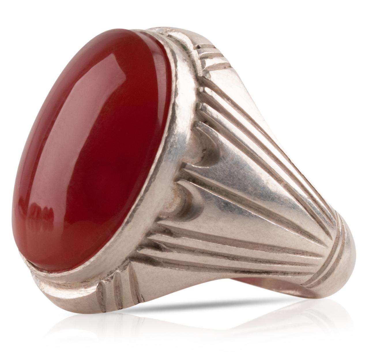 Herren Aqiq Rot Silberring Fassung - RE24