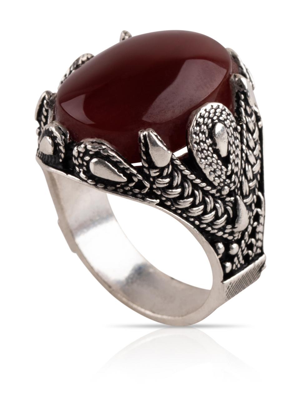 Herren Aqiq Rot rund Größe 62 - Silberring Fassung graviert - RE25