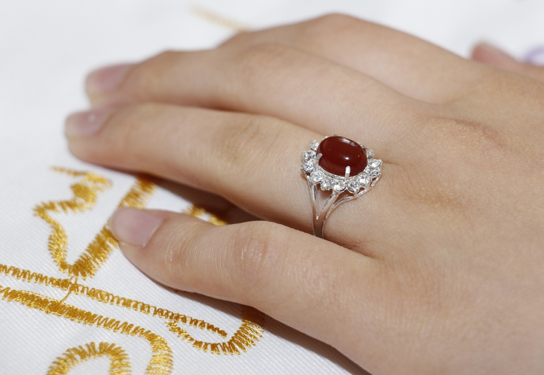 Aqiq Yamani Silberring für Frauen