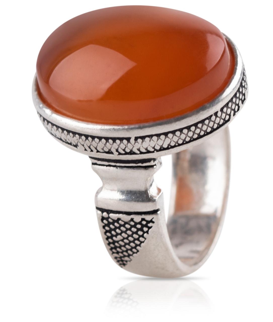 Herren Aqiq Rot / Orange rund Größe 55 - Silberring Fassung graviert - RE14