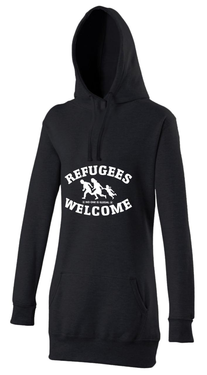 Refugees welcome Woman Hoody Schwarz mit weißer Aufschrift - No one is illegal