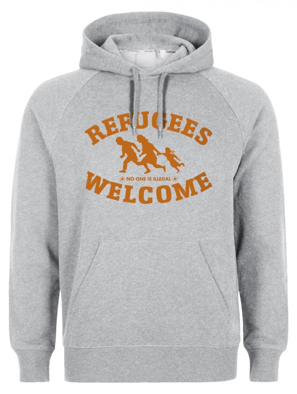 Refugees welcome Hoody Grau mit orangener Aufschrift - No one is illegal
