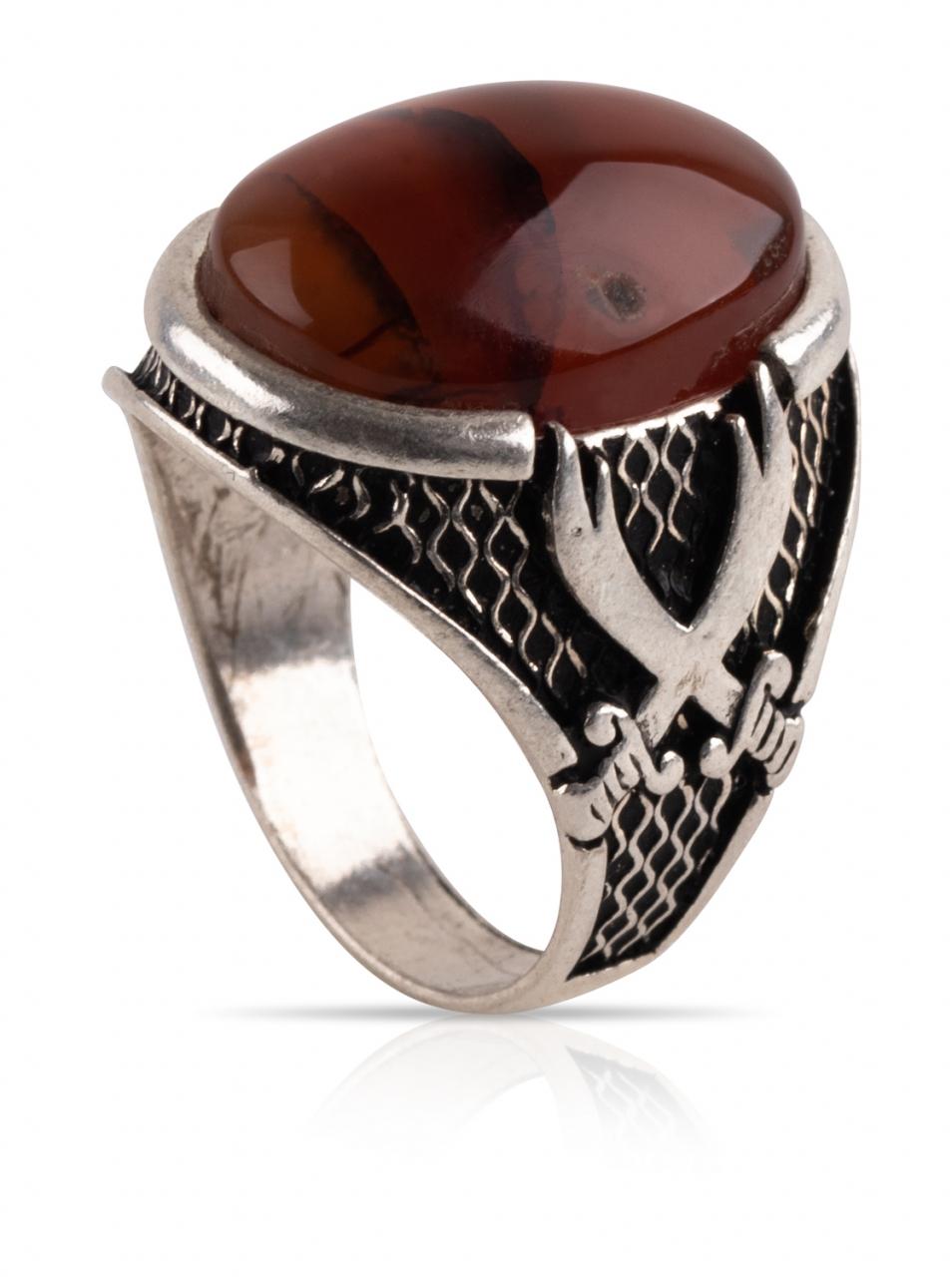 Herren Aqiq Rot - Silberring Fassung graviert mit Dhulfiqar - RE43