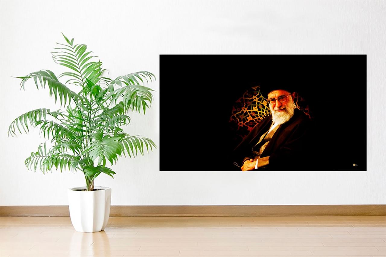 Imam Khamenei dunkele Aufnahme Islamische Leinwandbilder Fotoleinwand