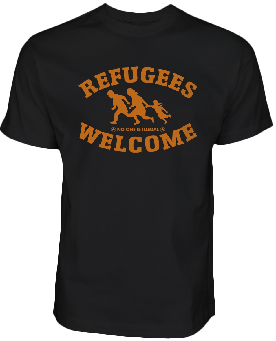 Refugees welcome T-Shirt Schwarz mit orangenes Motiv - Nobody is illegal