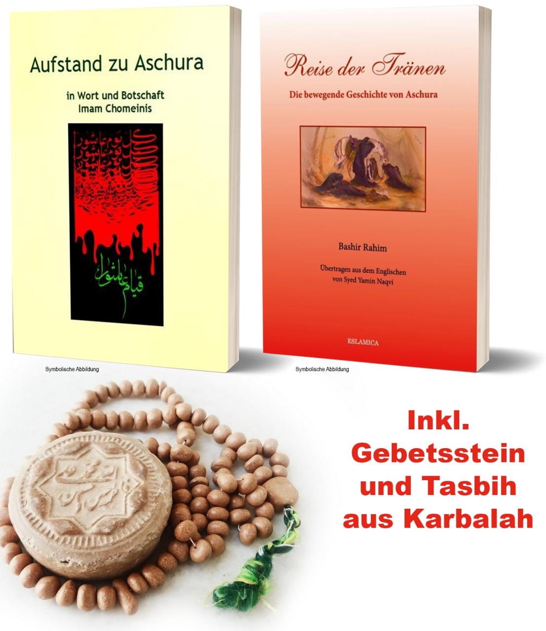 Bücherpaket Ashura - Imam Hussein - Karbalah Islam Buch Deutsch + Tasbih + Gebeststein