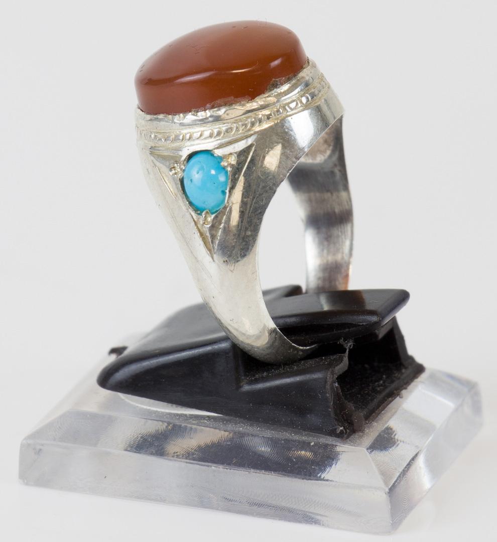 Aqiq Yamani verziert mit 2x Fairuz Steine Silberfassung Größe 59