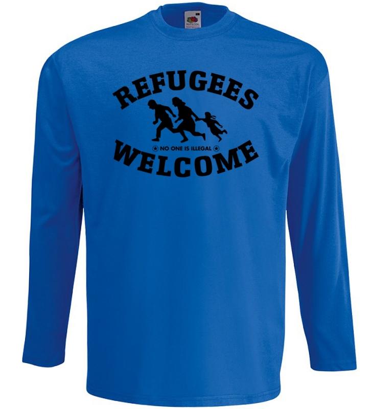 Refugees welcome Langarm Shirt Blau mit schwarzer Aufschrift - No one is illegal